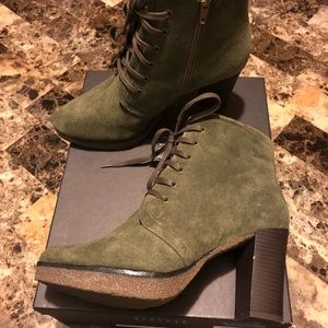 Barneys New York Shoes - Suede Olive Green Lace Up Booties
